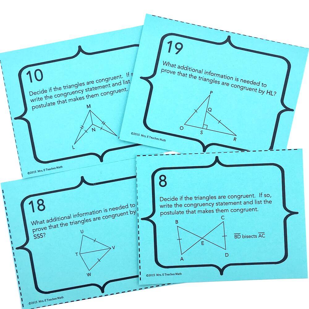 7 Ideas for Teaching Congruent Triangles   Mrs. E Teaches Math