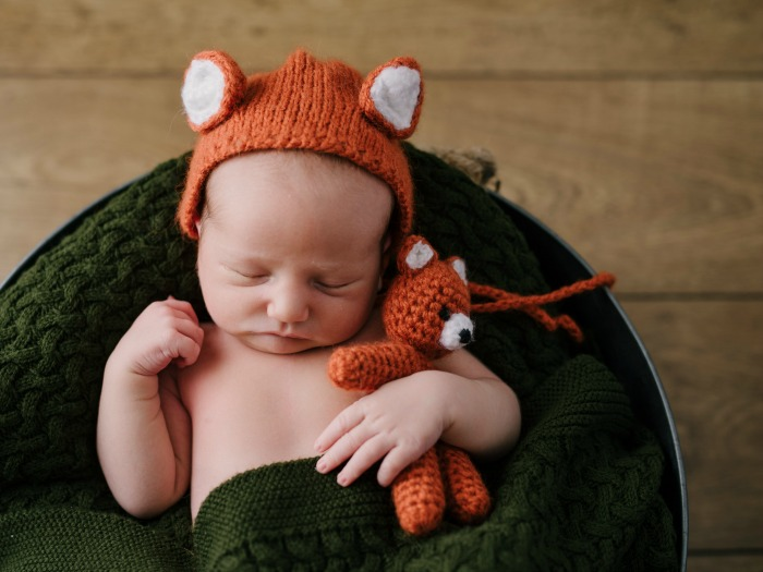 Dot newborn photo in fox hat
