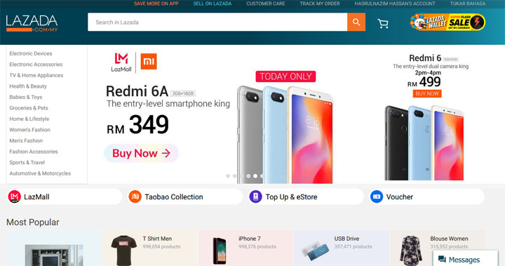 Web shopping Lazada Malaysia