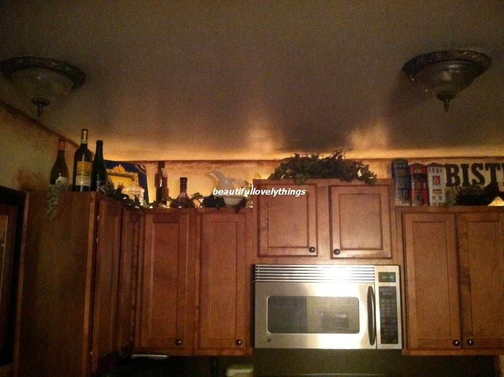BeautifulLovelyThings: Above Kitchen Cabinet Decor