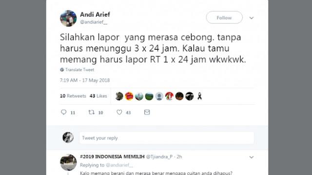 Andi Arief Nantangin Cebong untuk Laporkan Dirinya