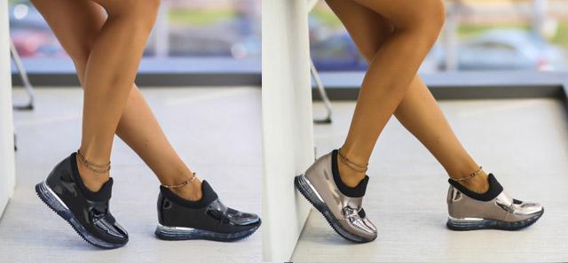 Adidasi femei lacuiti cu talpa de silicon negri, argintii ieftini la moda