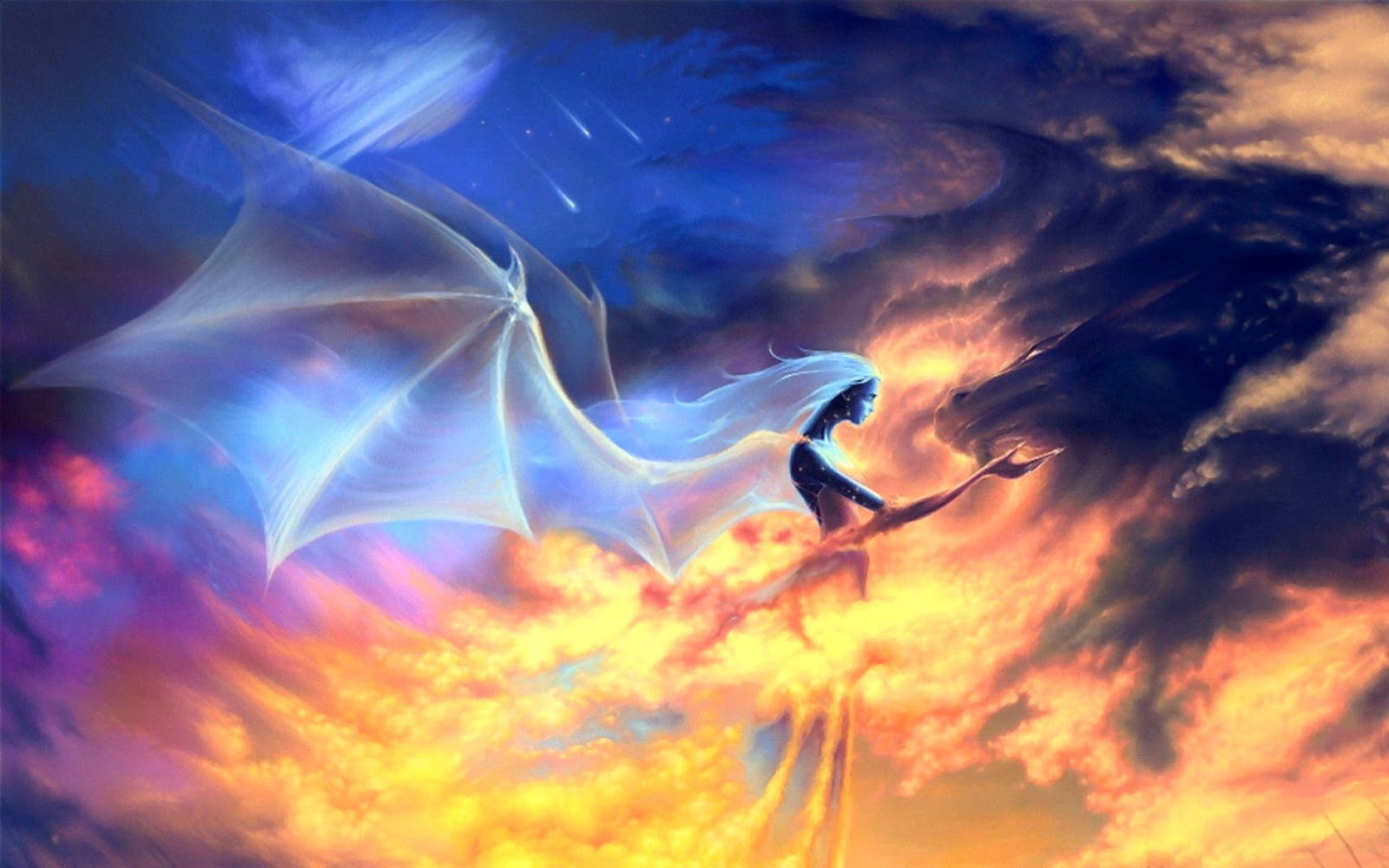 Dreamy Fantasy Fire Dragon And Blue Angel Wings Wallpaper