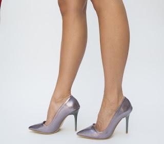 Pantofi Alexaco Gri cu toc inalt pentru evenimente speciale