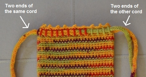 Close up of the top of the WIP Project Bag showing the french knitted drawstrings threaded through a crocheted casing.
