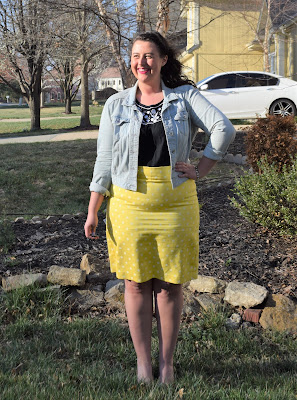 denim jacket, yellow pencil skirt, black tank, patent wedges