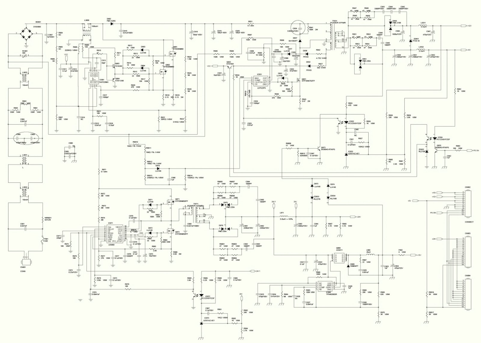 Hannspree AT06 42 inch LCD TV Power Supply board – Schematic ... on