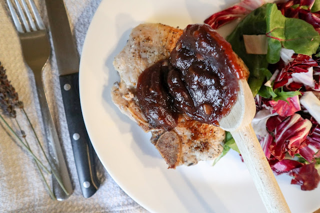 Lavender Rubbed Pork Chops with Cranberry Reduction Sauce made with Organic Culinary Lavender from Pelindaba Lavender Farm