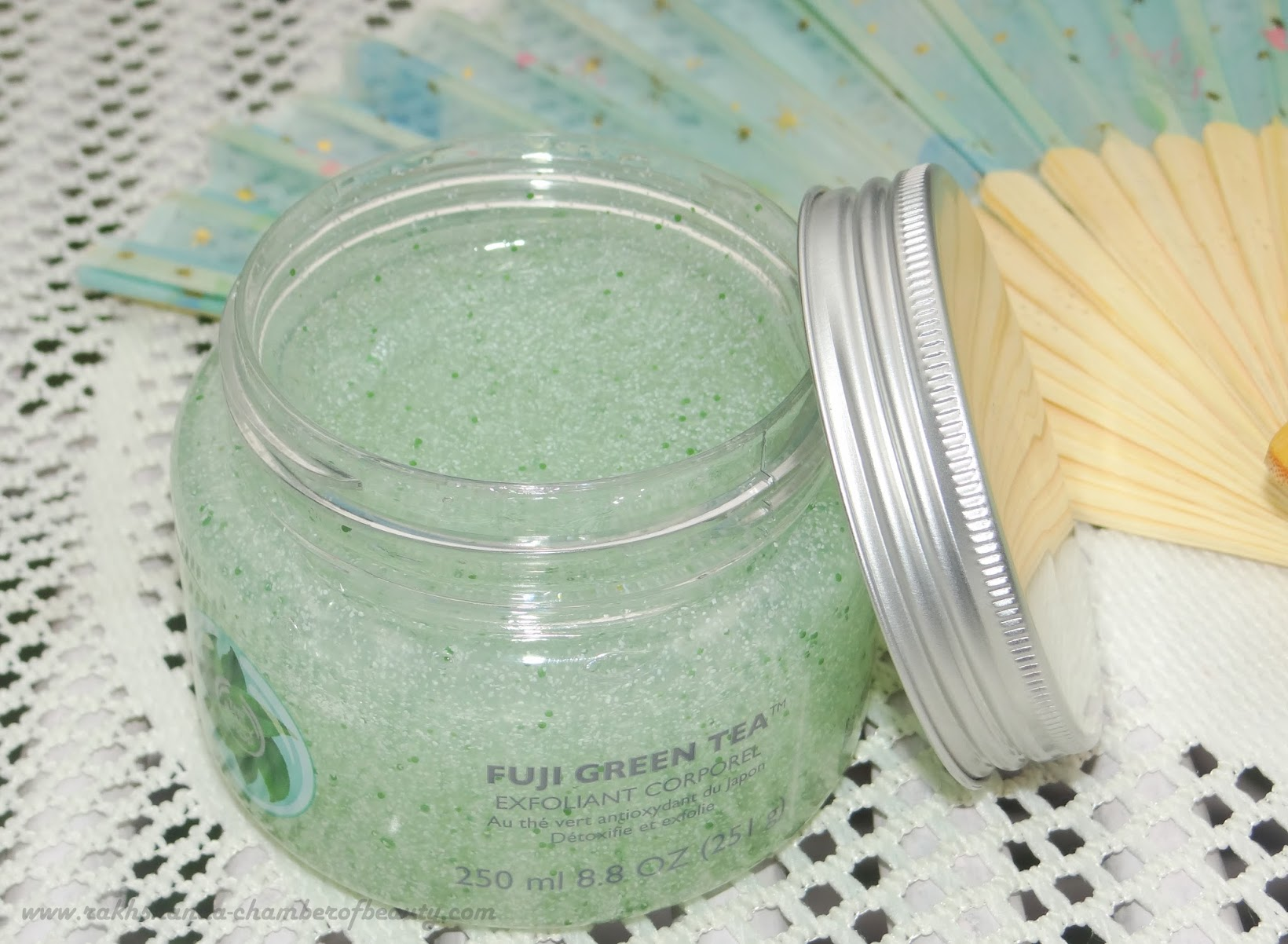 The Body Shop Fuji Green tea Body Butter & Scrub-review, price in India+Giveaway