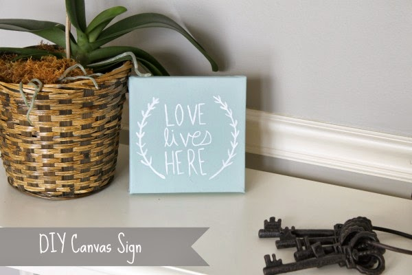 "DIY painted ""Love Lives Here"" sign"
