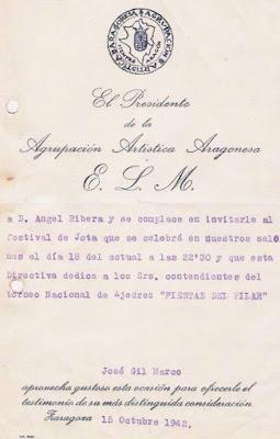 Invitación al festival de Jota durante el Torneo Nacional de Ajedrez Fiestas del Pilar Zaragoza 1942
