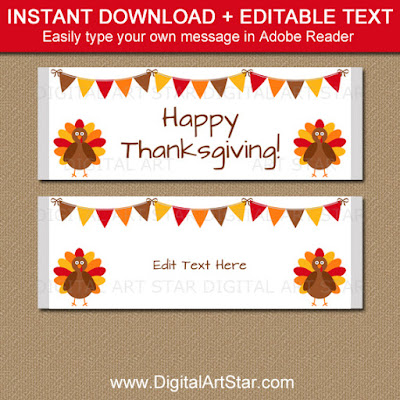Thanksgiving chocolate bar wrapper template