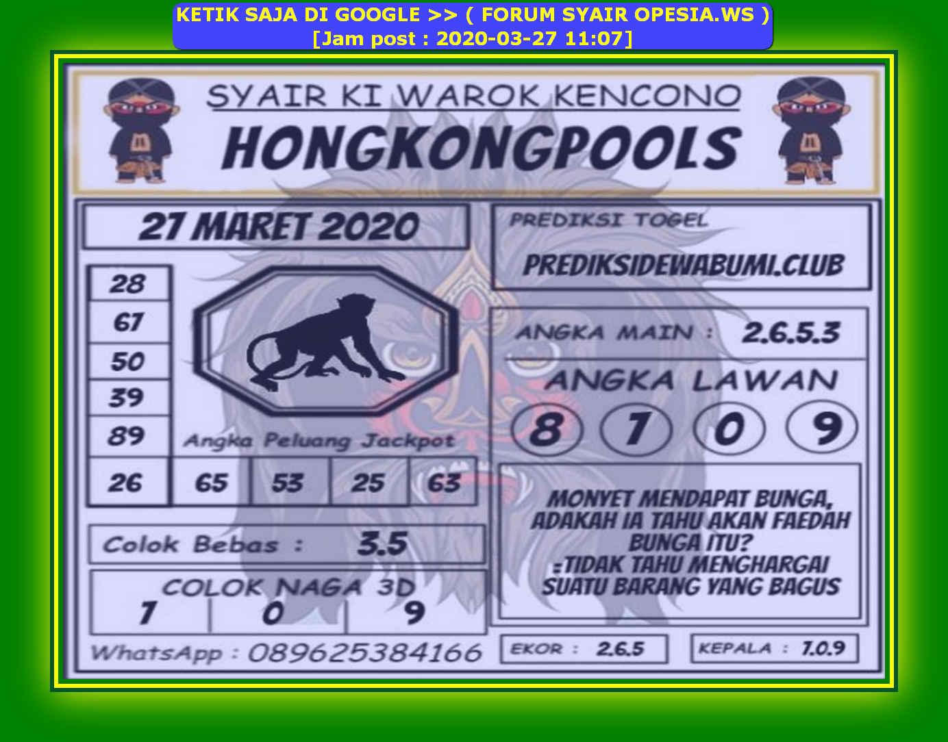 Kode syair Hongkong Jumat 27 Maret 2020 147