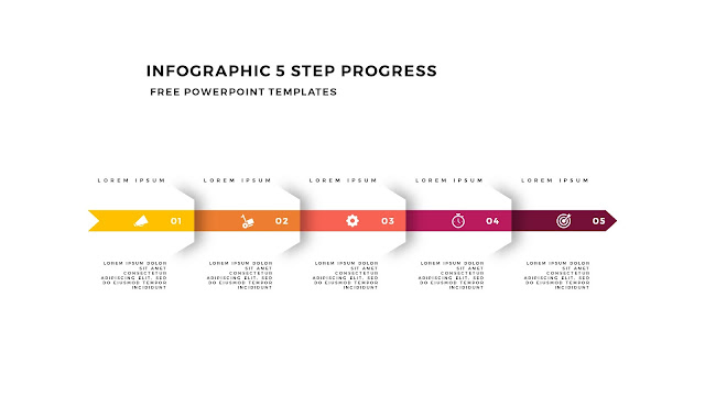 Infographic 5 Step Progress Arrow Diagrams for PowerPoint Template Slide 4