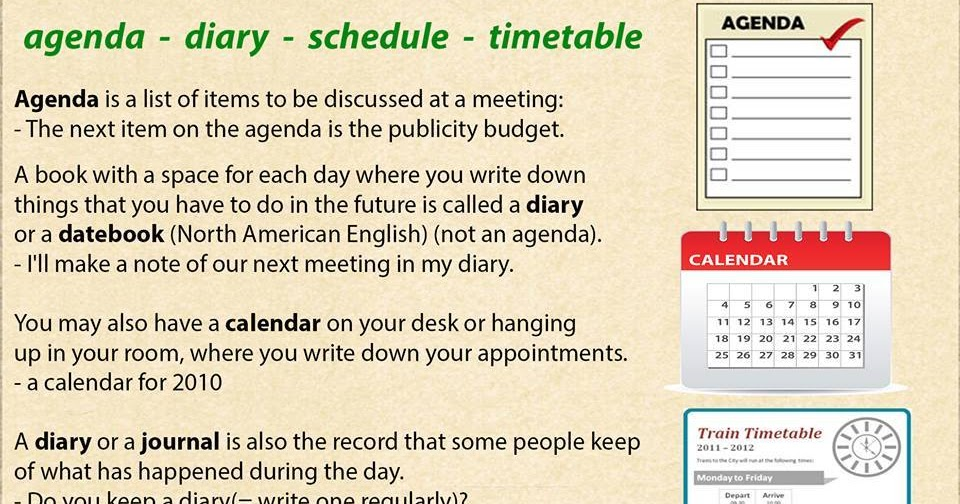 Click On Confusing Agenda Diary Schedule  Timetable