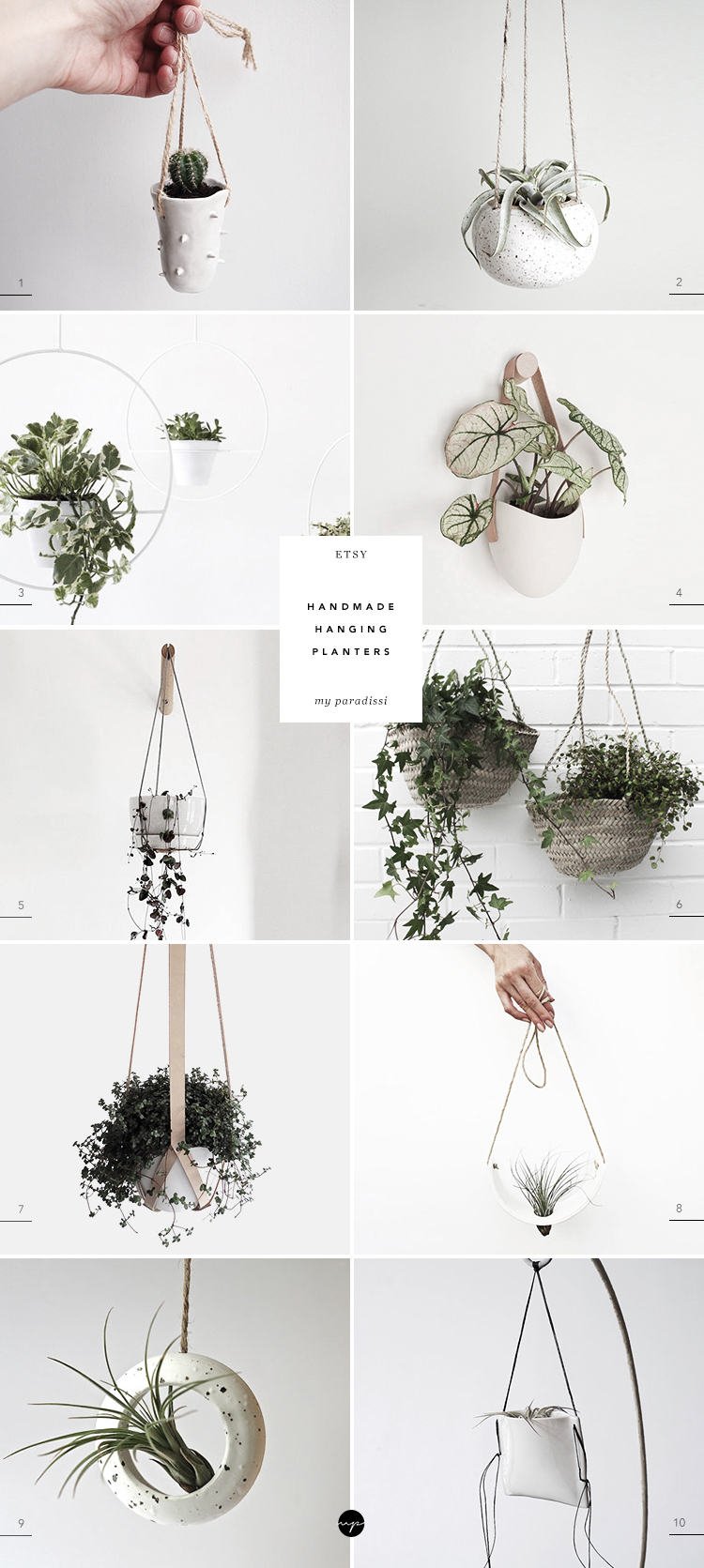 10 Best Handmade Hanging Planters from Etsy | Handmade hanging planters, minimalistic hanging planters, ceramic hanging planter, leather strap hanging planter, air plant cradle, contemporary hanging planter