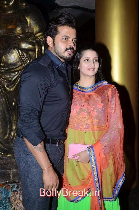 Sreesanth with wife Bhuvaneshwari, Richa Chadda's Birthday Party Hot Images