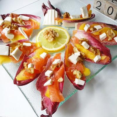 Ensalada de envidias mango y salmón