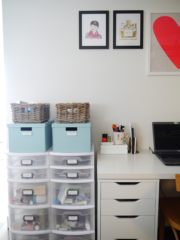 Feminine beauty blogger home office space