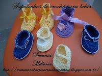 Sapatinhos de crochê executados por Pecunia Milliom