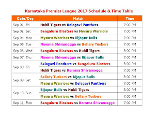 Karnataka Premier League 2017 Schedule & Time Table,KPL 2017 fixture,Karnataka Premier League 2017 teams,KPL 2017 match timing,schedule,domestic cricket,cricket league schedule,2017 cricket schedule,odi,t20 cricket,full schedule,time table,image,pdf,KPL 2016 schedule,match time,player name,team name Hubli Tigers,Belagavi Panthers,Bengaluru Blasters,Mysuru Warriors,Bijapur Bulls,Namma Shivamogga,Bellary Tuskers