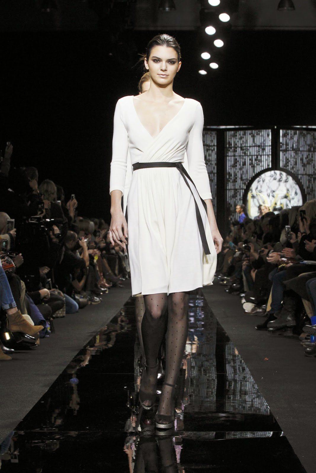 Kendall Jenner is classy in white at the Diane Von Furstenberg Fall/Winter 2015 New York Fashion Week Show
