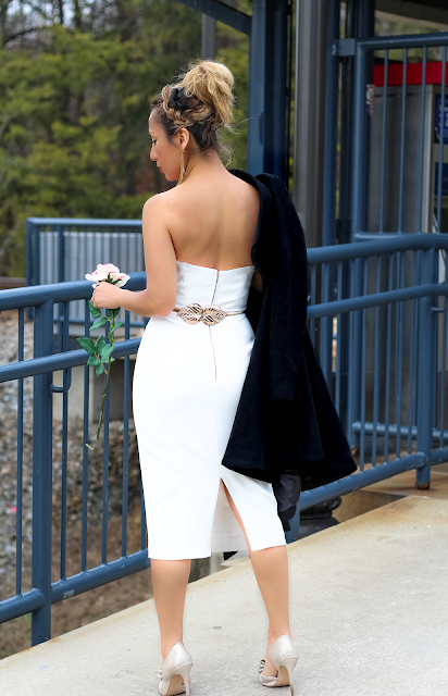 Strapress  midi white dress