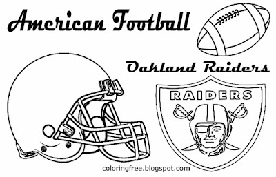 Oakland Raiders American football drawing pictures for youngsters US sport games to print worksheets