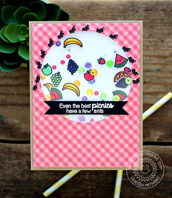 Sunny Studio Stamps: Summer Picnic Even The Best Picnics have a few Ants Shaker Card by Vanessa Menhorn.