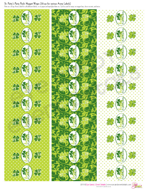 st patty's day nugget wraps, st patty's day candy wrappers, st pattys day party