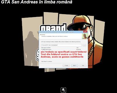 instalare GTA San Andreas în limba Română