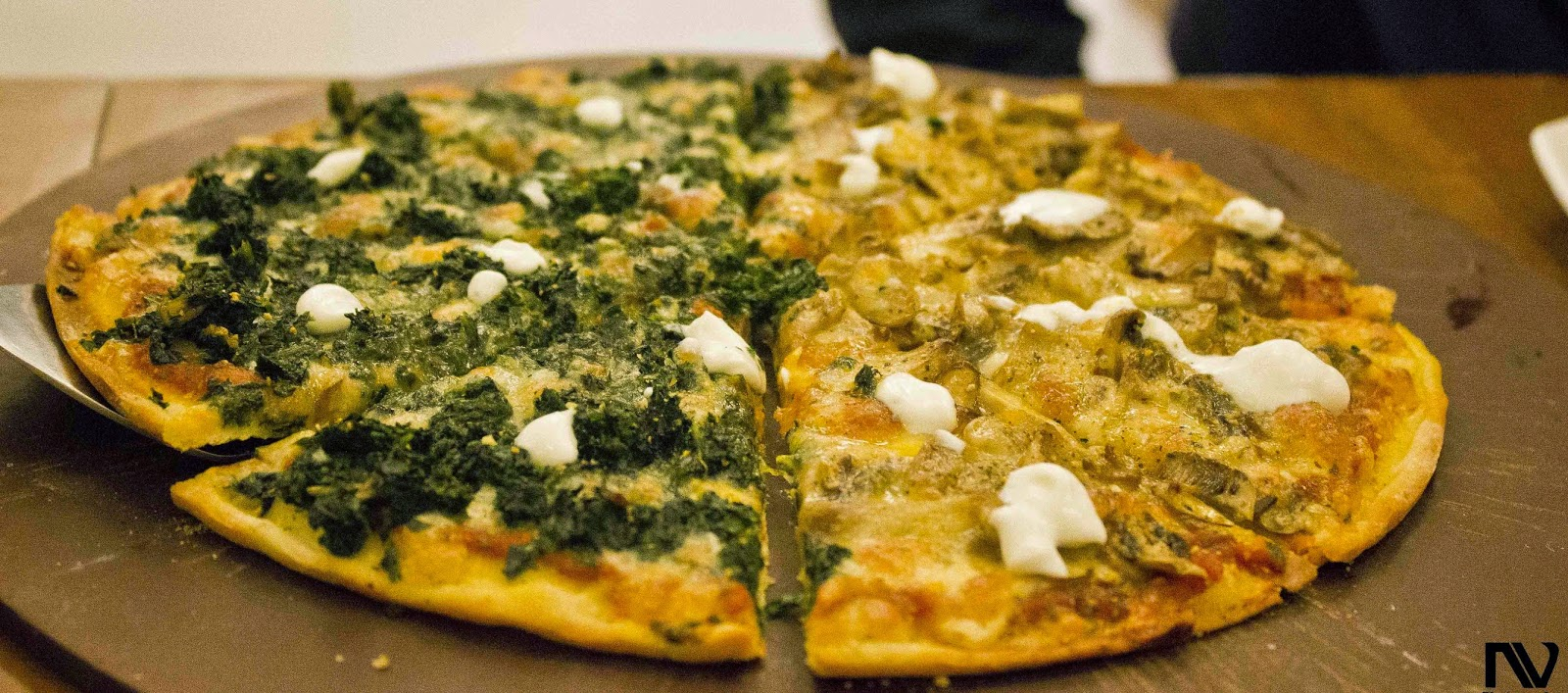 Spinach and Mushroom Pizza with Feta Cheese