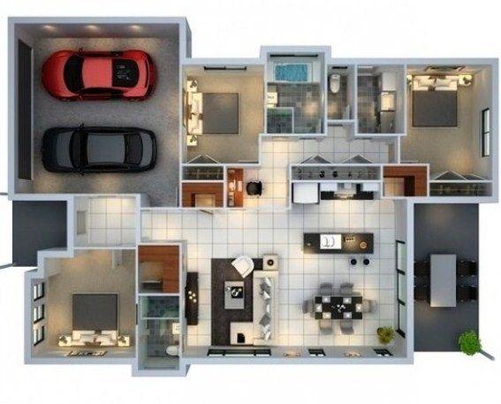 Denah Rumah 3 Kamar Tidur Dan 2 Kamar Mandi 3D