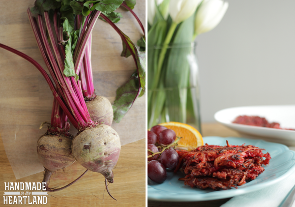 Shredded Potato, Beet & Carrot Latkes #OreIdaHashbrown  #shop
