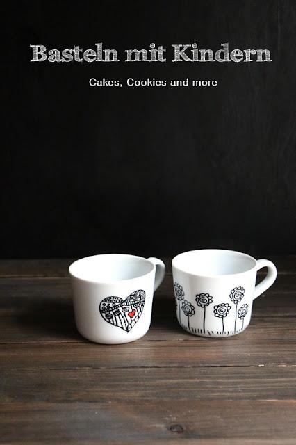 Basteln mit Kinder - Malen auf Tassen