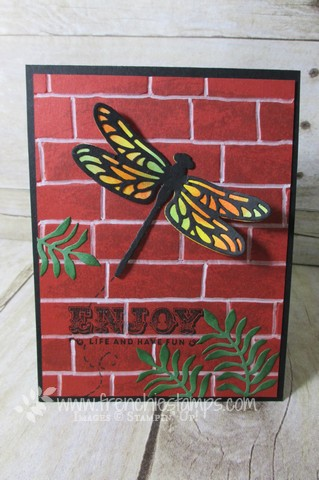 Dragonfly Dream, Detailed Dragonfly, Brick wall Stampin'Up!