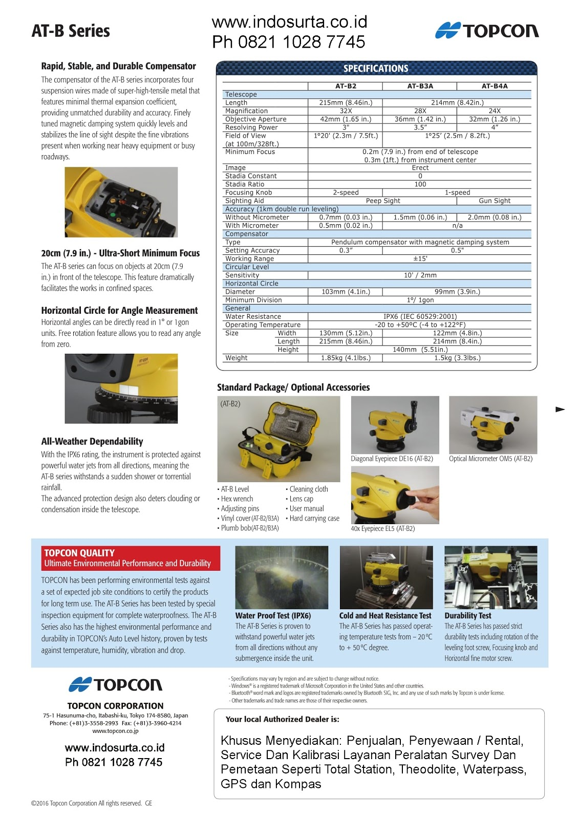 Brosur Auto Level / Waterpass TOPCON AT-B2 3 4  Series