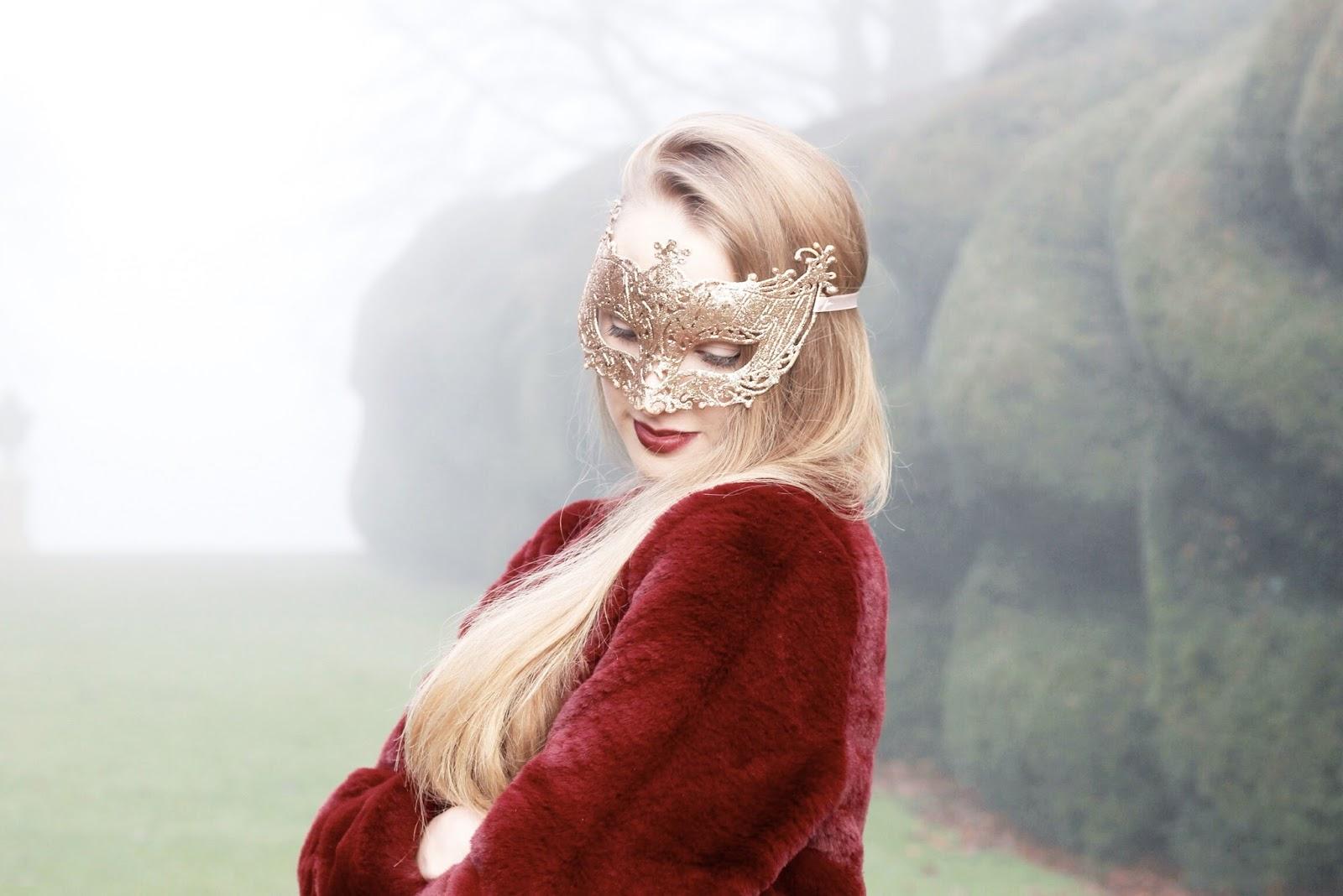 Gold ribbon tie masquerade ball mask