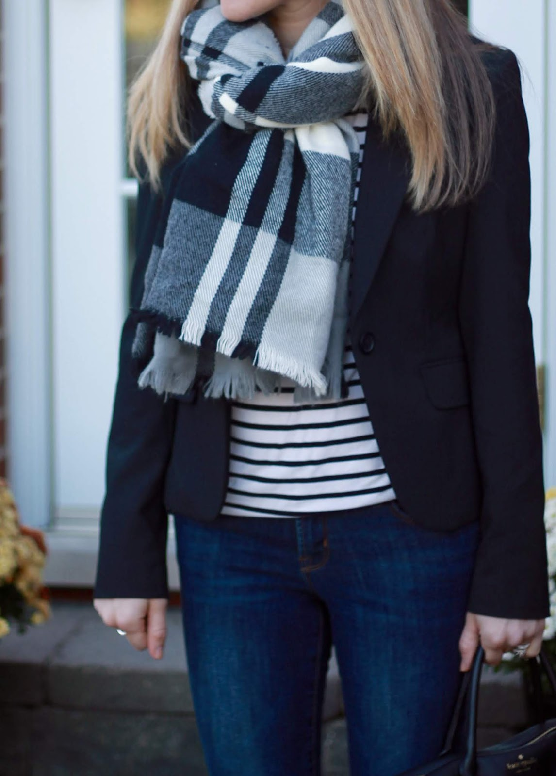 striped tee, black blazer, Rockstar jeans, plaid blanket scarf, leopard flats, black Kate Spade crossbody