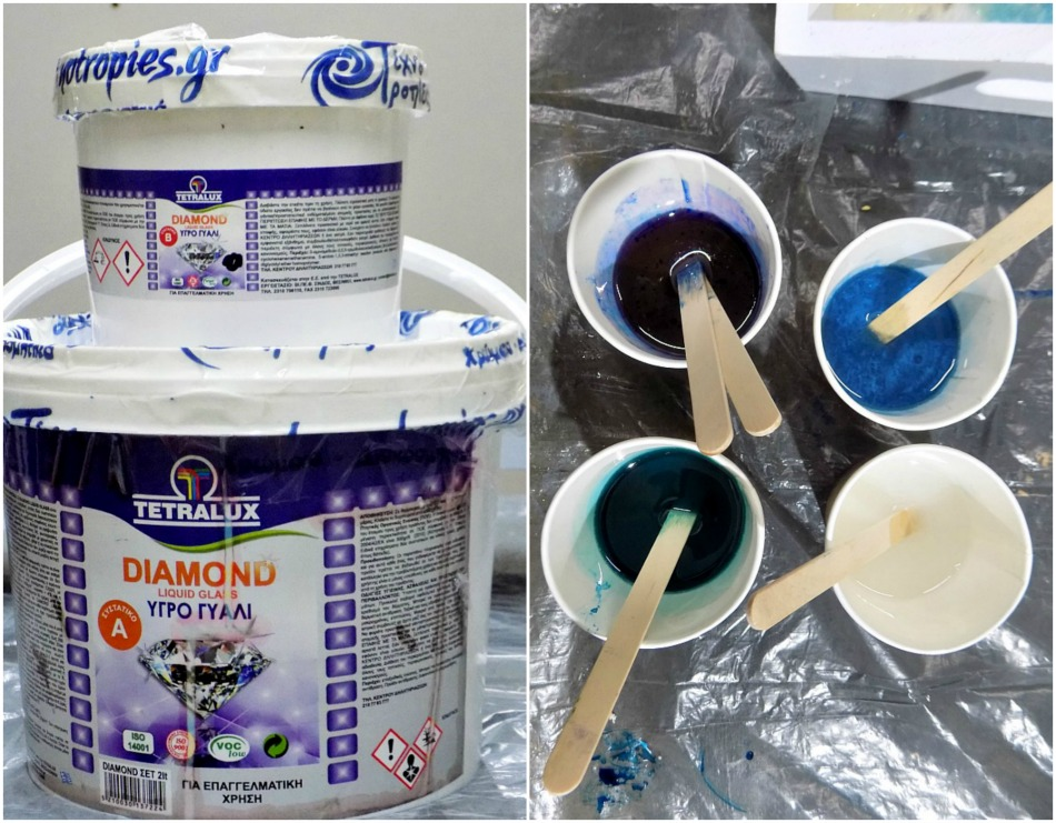 Resin with acrylic paints