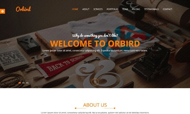 Orbird – Parallax one page HTML Template