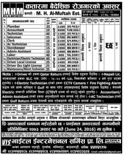 Free Visa, Free Ticket, Jobs For Nepali In Qatar, Salary -Rs.1,05,000/