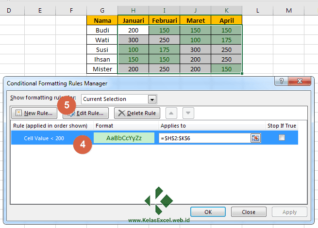 Cara Merubah Setting Conditional Formatting Excel