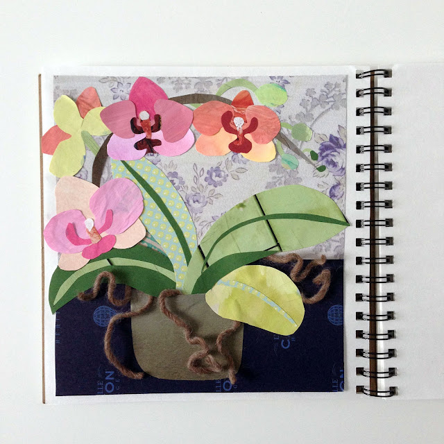 sketchbook, collage, botanical collage, orchids, Anne Butera, My Giant Strawberry