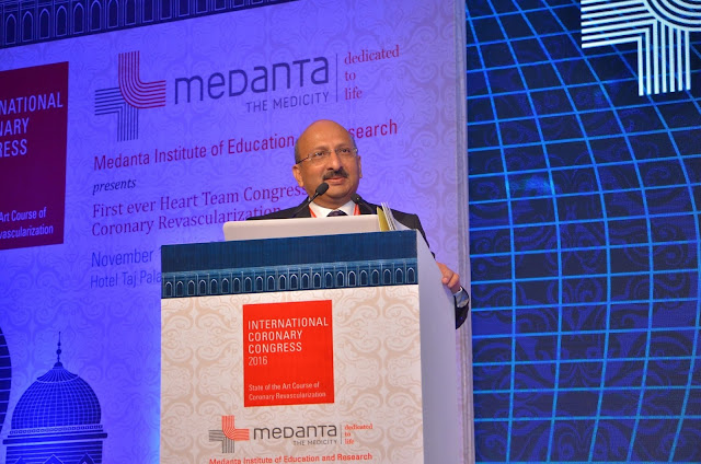 Dr Praveen Chandra, Chairmain, Interventional Cardiology, Medanta speaking at International Coronary Congress 2016 at Taj Palace