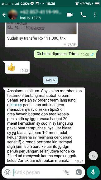 Obat Kuat Oles Tahan Lama Pria Tanpa Rasa Panas-Mahabbah Cream Asli Original