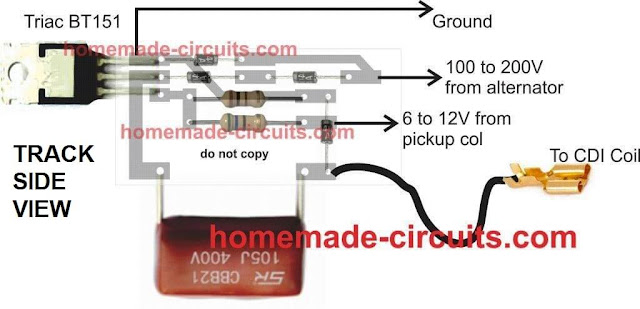 pictorial design layout for CDI circuit, connection details