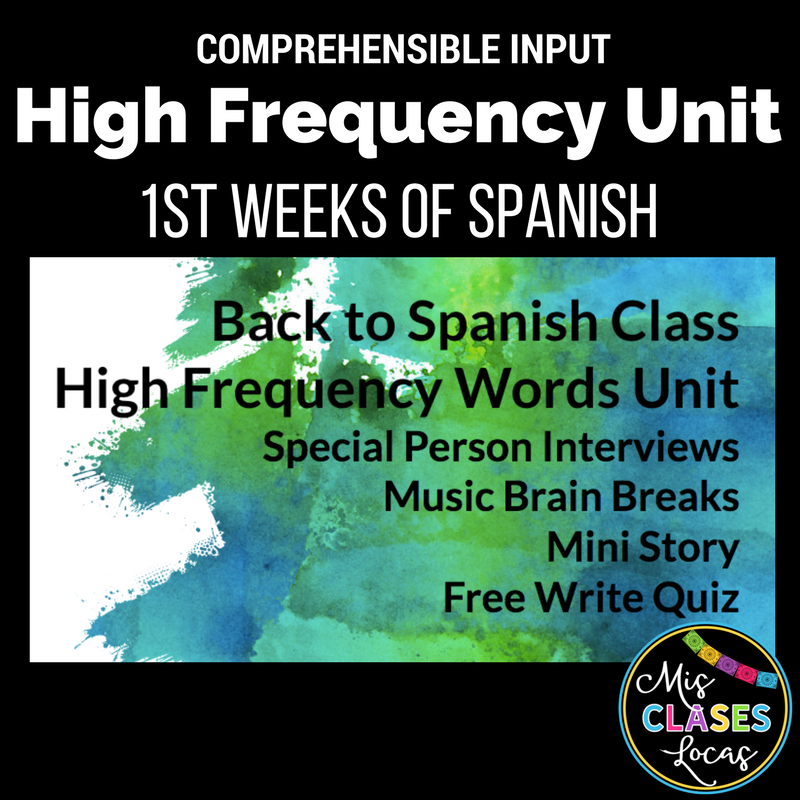 High Frequency Spanish Verb Unit to Start Spanish 1