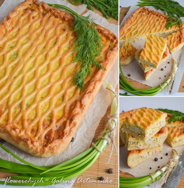 куриный пирог с яйцами, сыром и зеленью