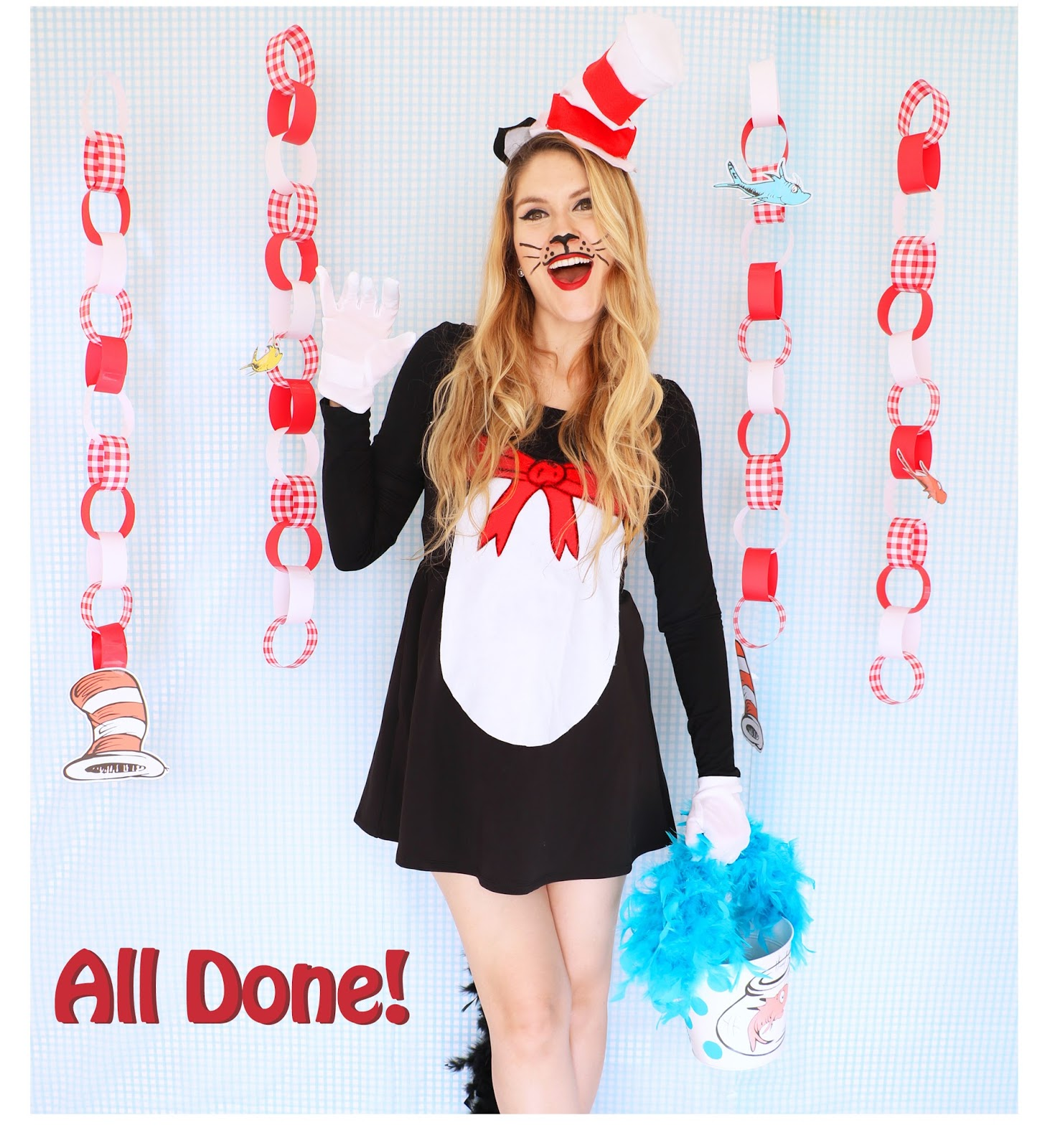 the joy of fashion: {halloween}: homemade cat in the hat costume